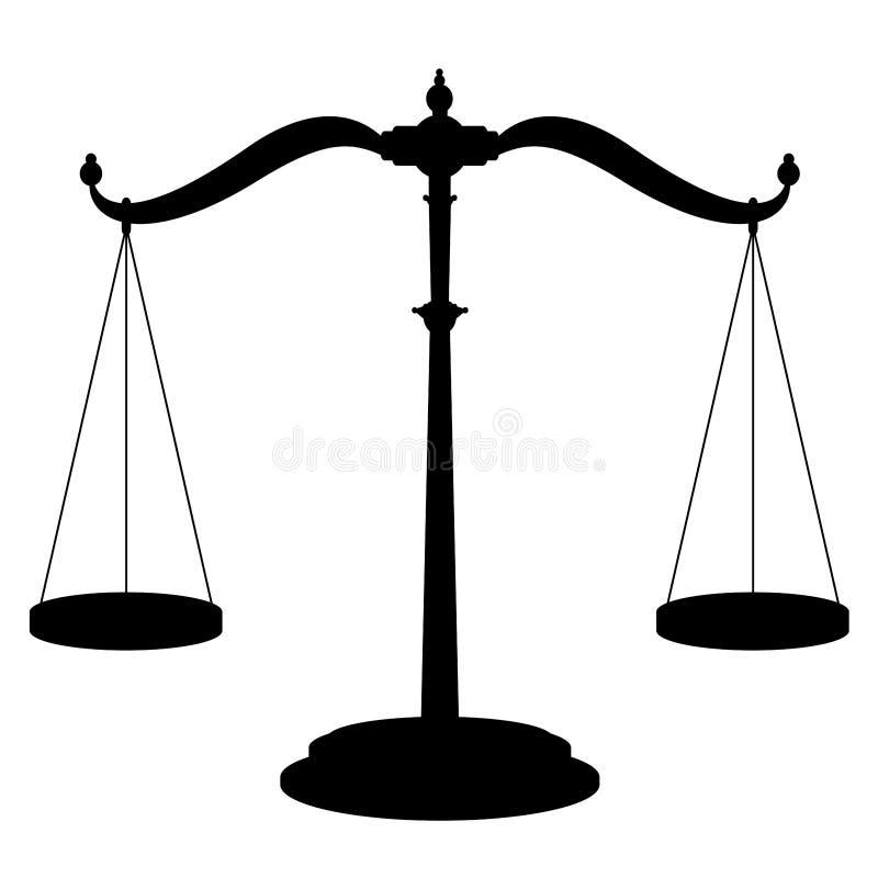 Símbolo do ícone do preto da escala do equilíbrio ilustração royalty free