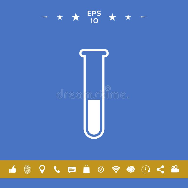 Símbolo do ícone do tubo de ensaio ilustração stock
