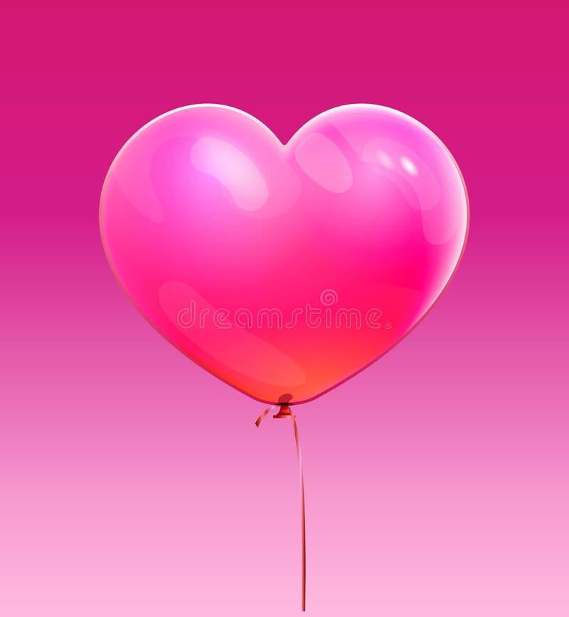 Símbolo do amor Ícone brilhante do coração, forma balão do coração 3D O gráfico para o aniversário, Valentim, casamento projeta I ilustração royalty free