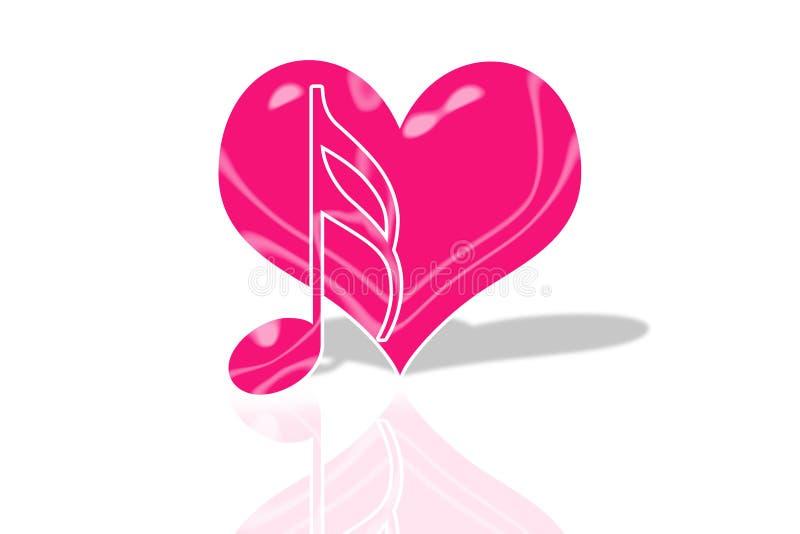 Símbolo do amor e de música ilustração royalty free