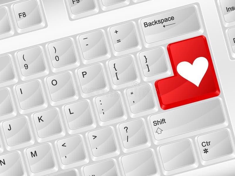 Símbolo do amor do teclado de computador ilustração royalty free
