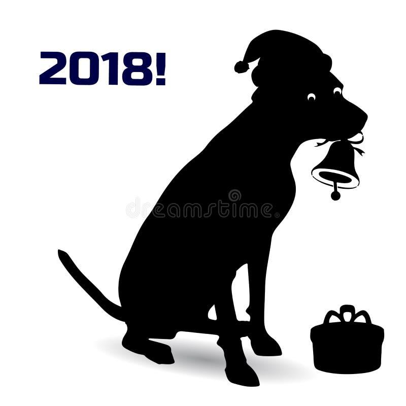 Símbolo do ano, cão alaranjado no chapéu de Papai Noel que guarda um sino ilustração stock