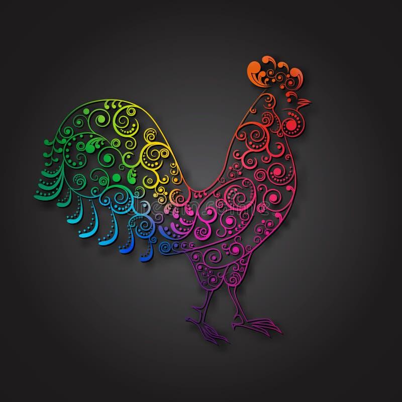símbolo do ano 2017 novo, galo colorido, ilustração stock