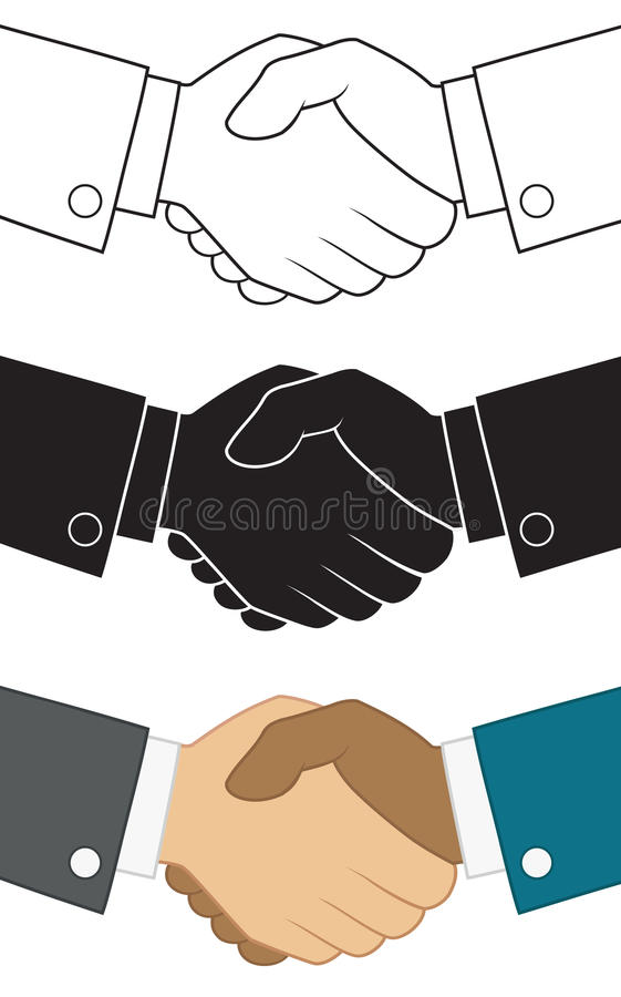 Símbolo do aperto de mão do negócio Ícone ajustado para o molde do projeto de conceito da parceria ilustração do vetor