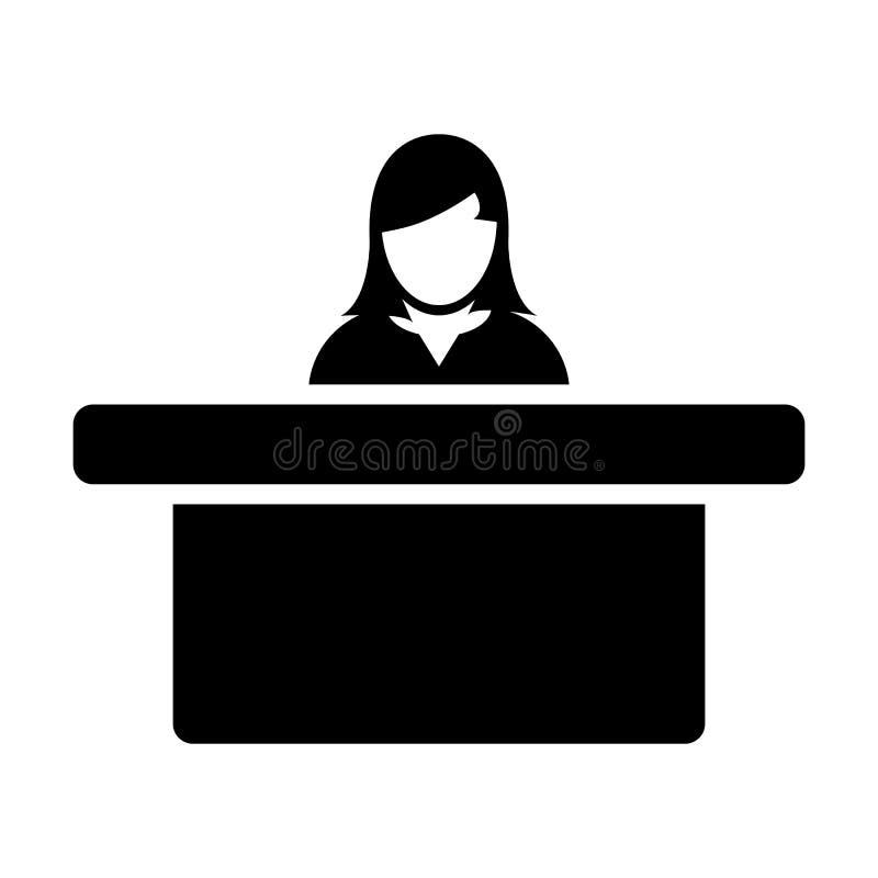 Símbolo do avatar da pessoa fêmea do vetor do ícone do hotel com a tabela para a recepção e acomodação no pictograma liso do glyp ilustração royalty free