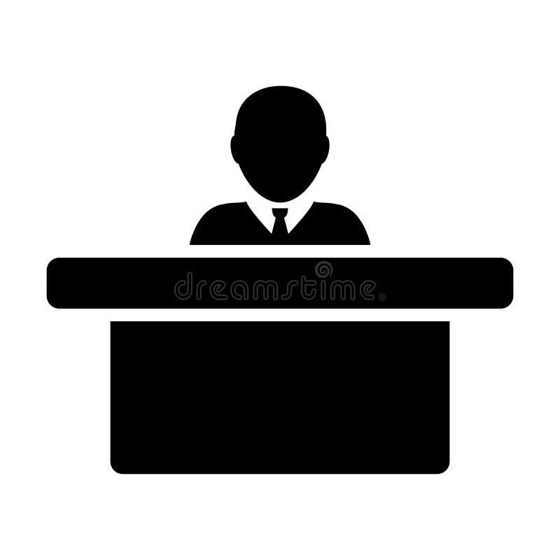 Símbolo do avatar da pessoa masculina do vetor do ícone do empregador com a tabela para o trabalho de escritório no pictograma li ilustração do vetor