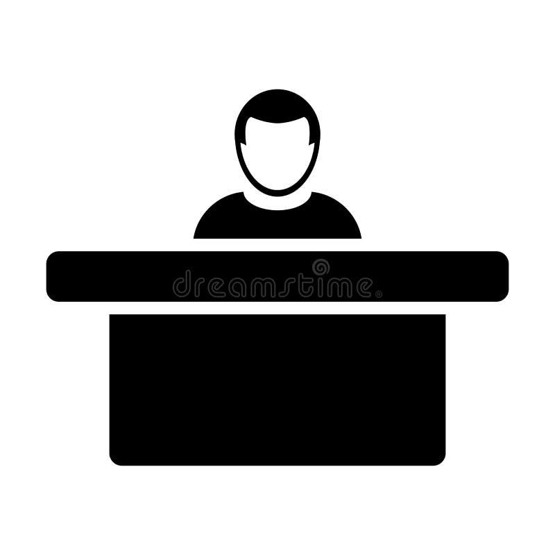 Símbolo do avatar da pessoa masculina do vetor do ícone do hotel com a tabela para a recepção e acomodação no pictograma liso do  ilustração stock