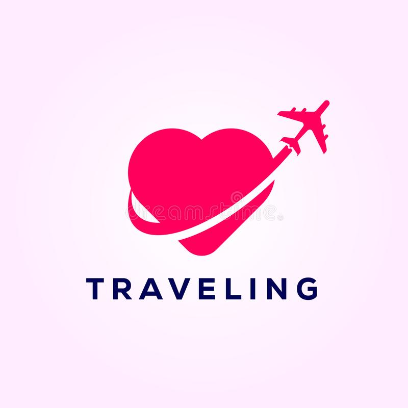 Símbolo do avião do curso com amor, projetos do logotipo do curso imagens de stock