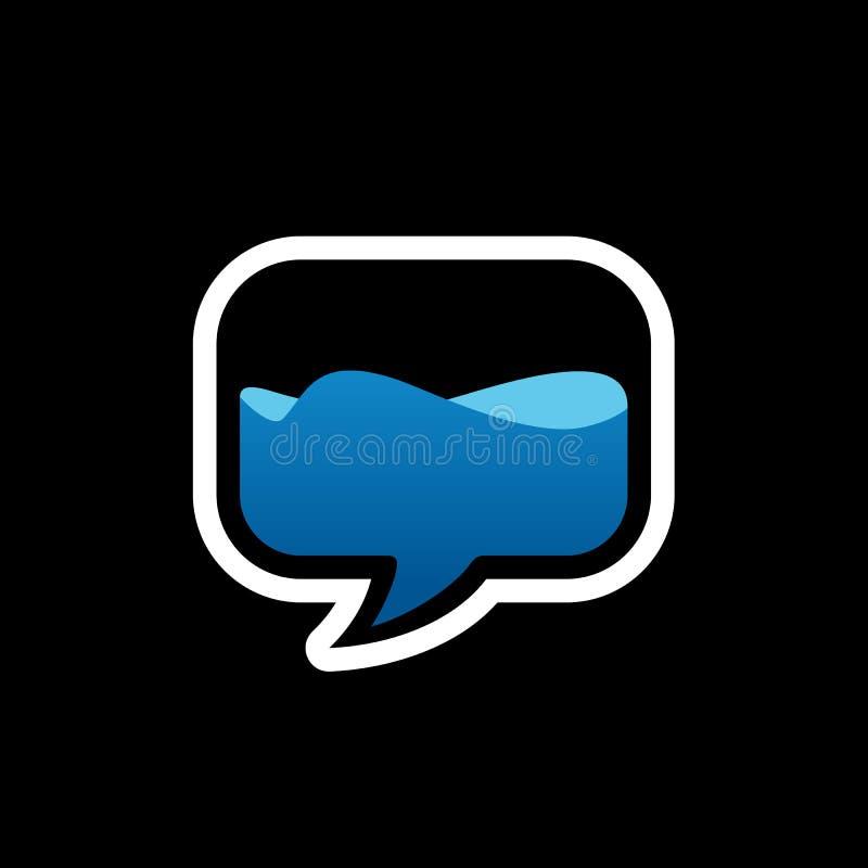 Símbolo do bate-papo ou da conversa, discurso da bolha e água de fluxo Logo Design, ilustração do vetor ilustração royalty free