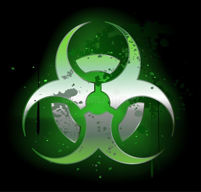 Símbolo do Biohazard em um fundo escuro ilustração royalty free
