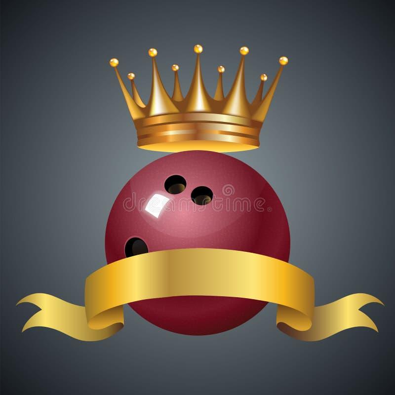 Símbolo do campeão do rei do boliches com uma coroa dourada em uma bola de boliches plástica vermelha ilustração stock
