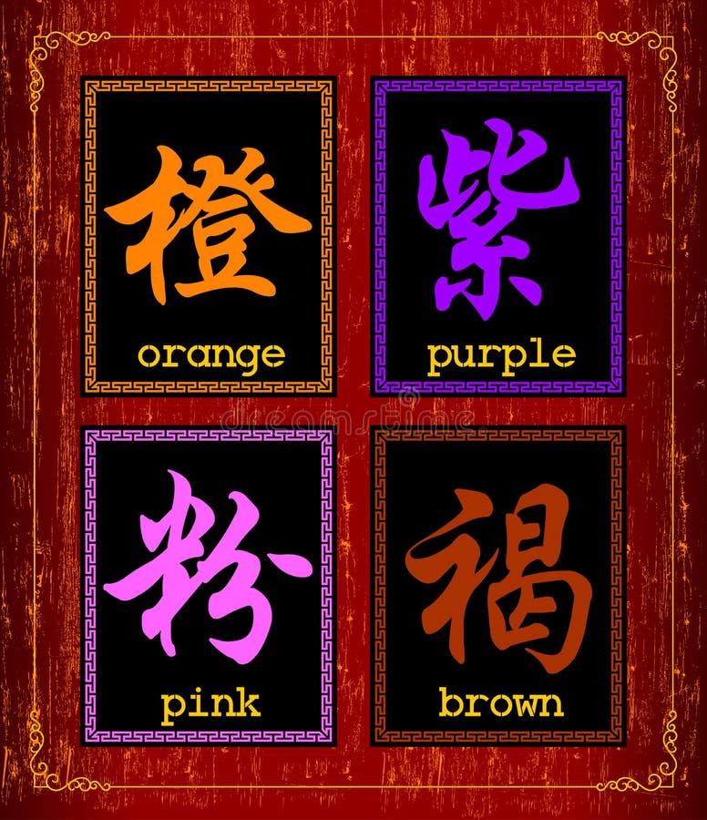 Símbolo do caráter chinês sobre a cor ilustração do vetor