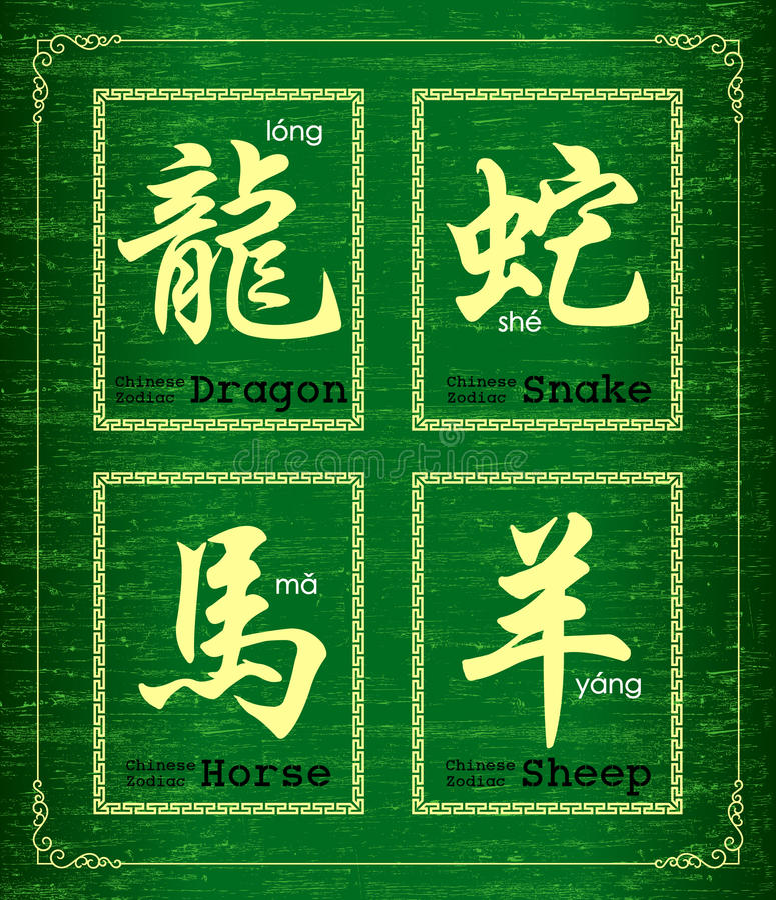 Símbolo do caráter chinês sobre o zodíaco chinês ilustração royalty free