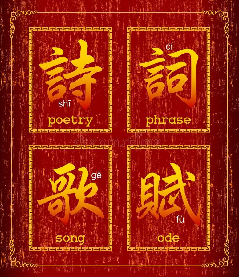 Símbolo do caráter chinês sobre a poesia ilustração stock