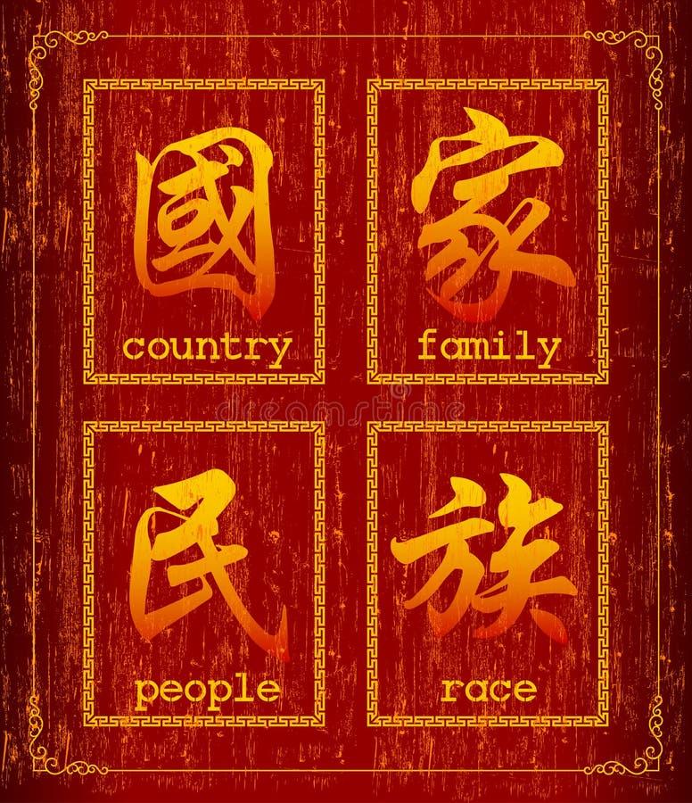 Símbolo do caráter chinês sobre a sociedade ilustração do vetor