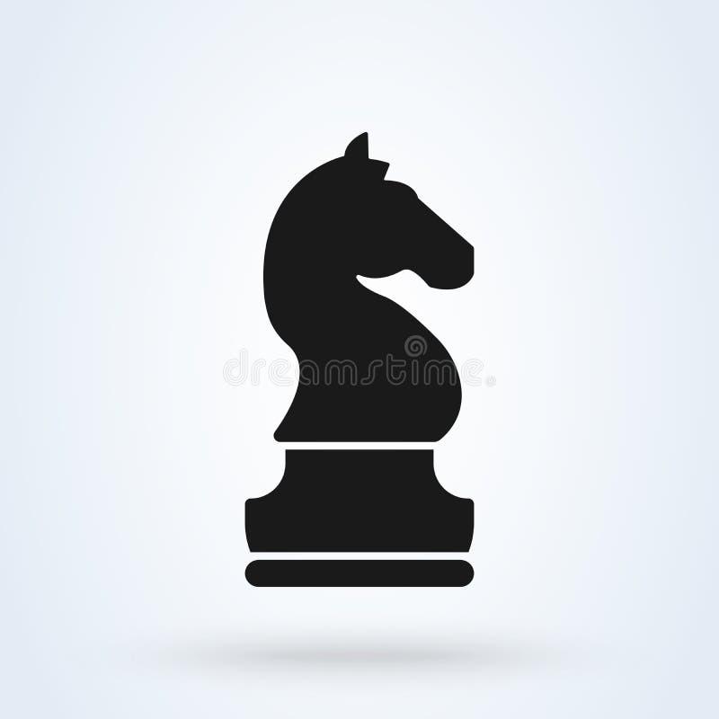 Símbolo do cavalo do vetor da xadrez do cavaleiro para a inspiração do projeto do logotipo ilustração stock