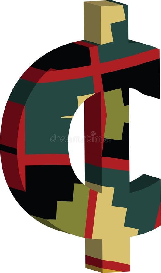 símbolo do centavo 3D ilustração do vetor