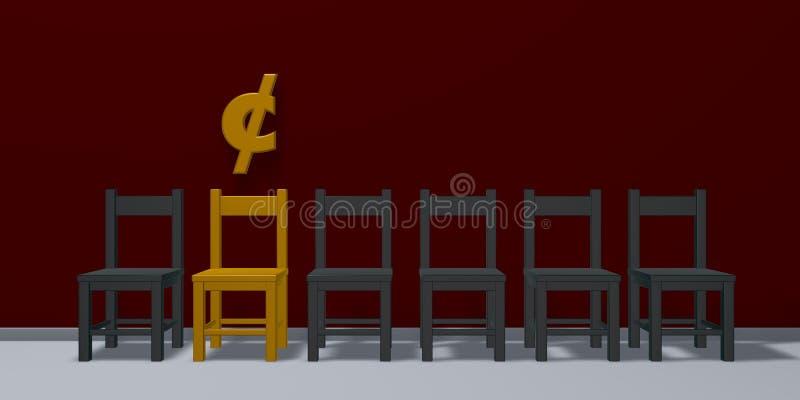 Símbolo do centavo e fileira de cadeiras ilustração royalty free