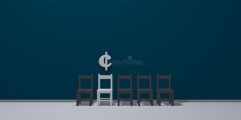 Símbolo do centavo e fileira de cadeiras ilustração do vetor