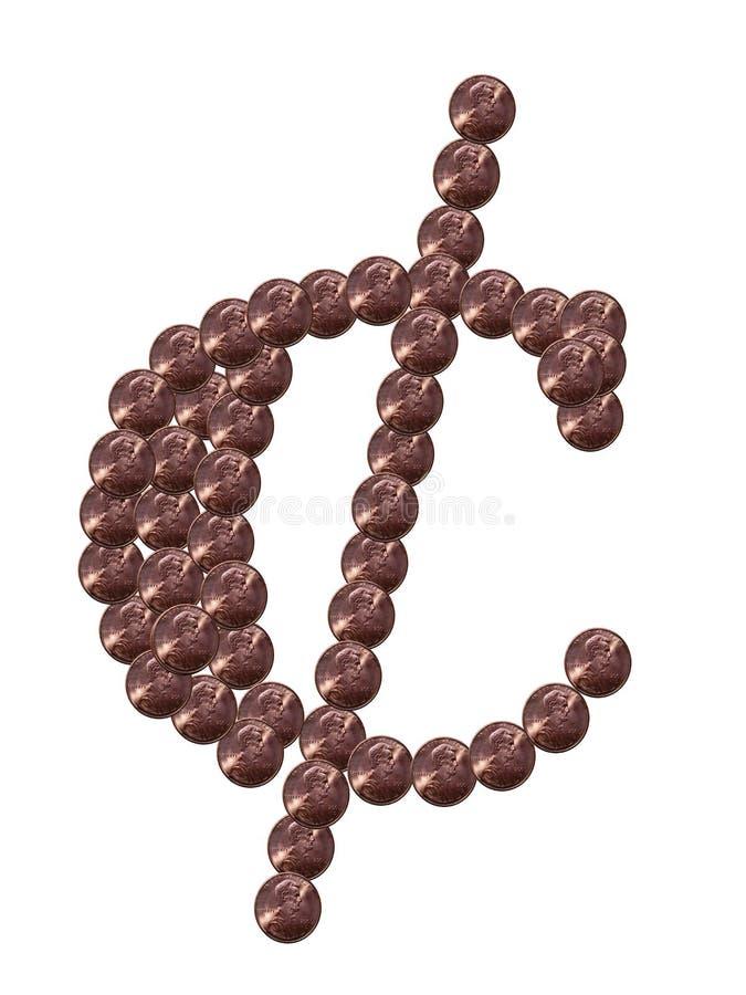 Símbolo do centavo feito das moedas de um centavo ilustração do vetor