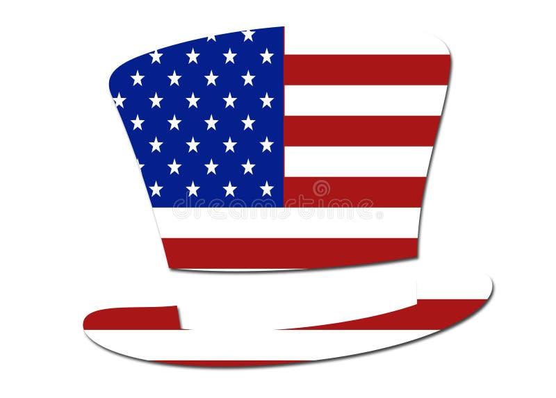 Símbolo do chapéu da bandeira dos E.U. ilustração do vetor