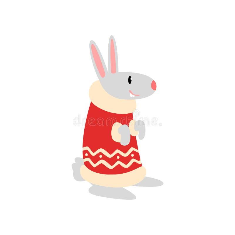 Símbolo do coelho do ano novo, animal bonito do horóscopo chinês na ilustração do vetor do traje de Santa Claus em um branco ilustração royalty free