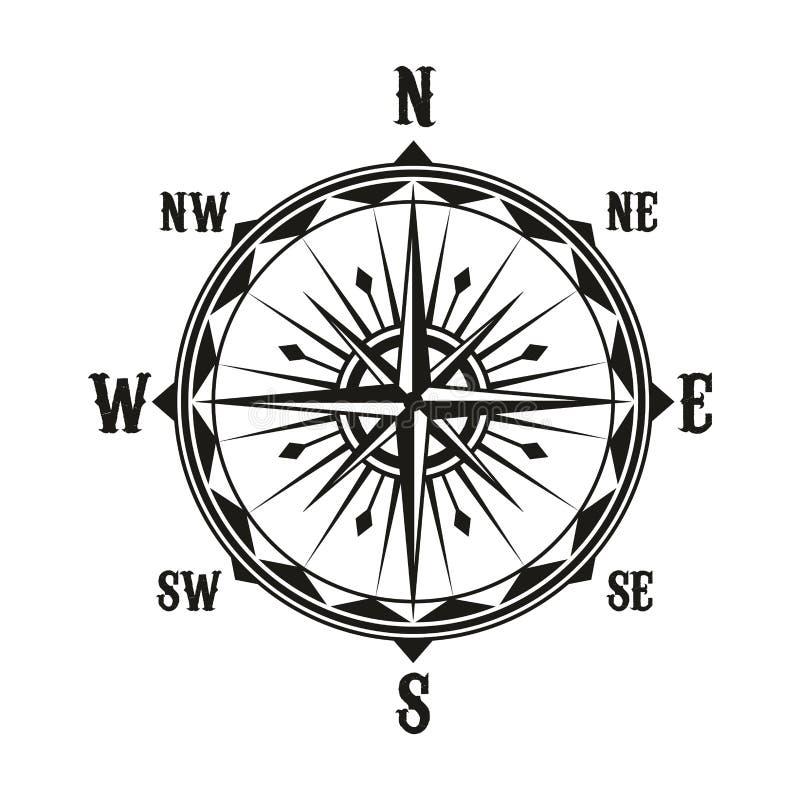 Símbolo do compasso da navegação do vintage do vetor ilustração stock