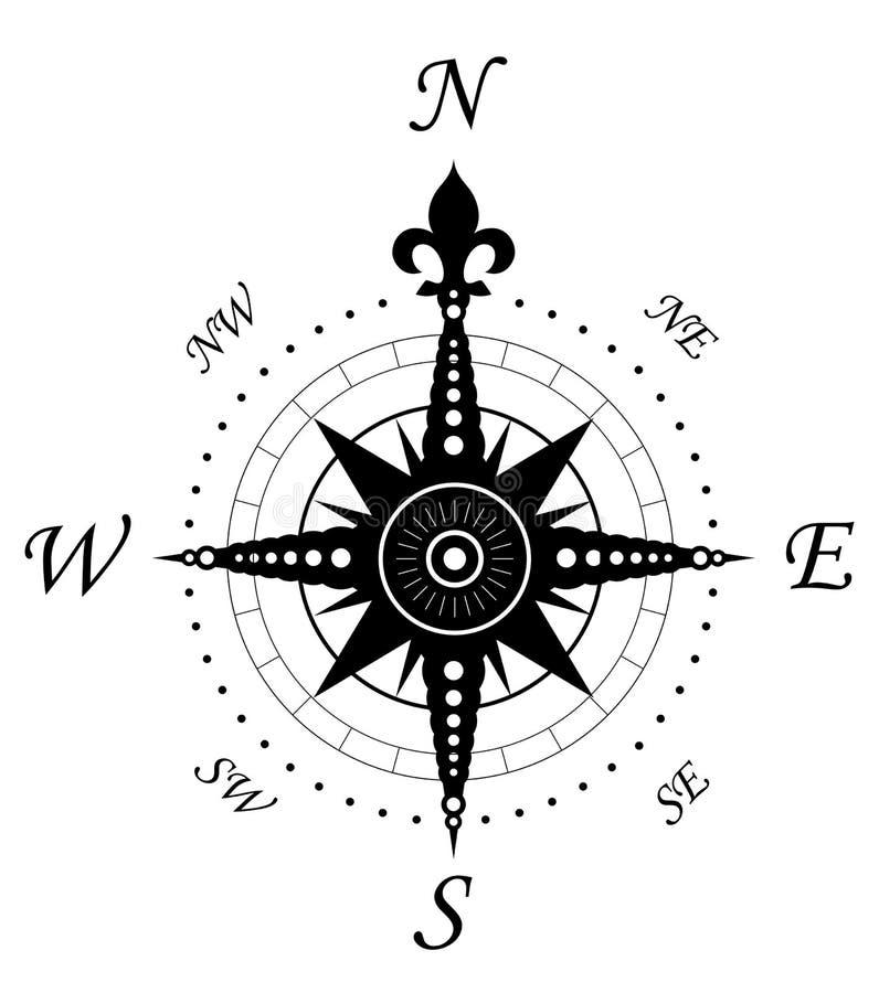 Símbolo do compasso do vintage ilustração stock