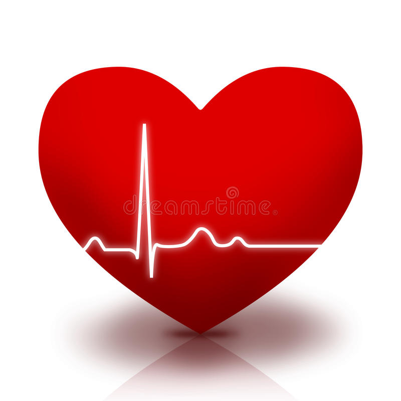 Símbolo do coração com ECG ilustração royalty free