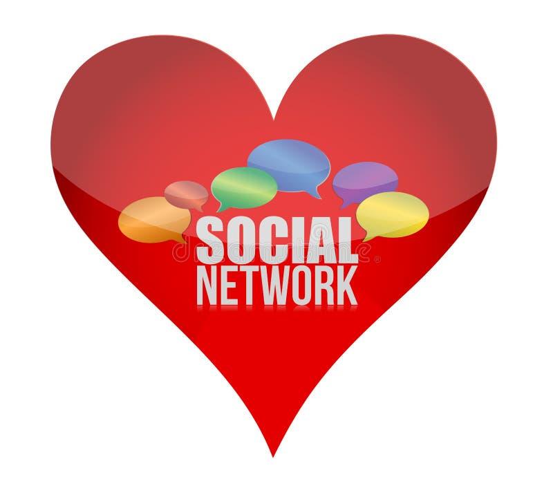Símbolo do coração como o conceito social dos media ilustração do vetor