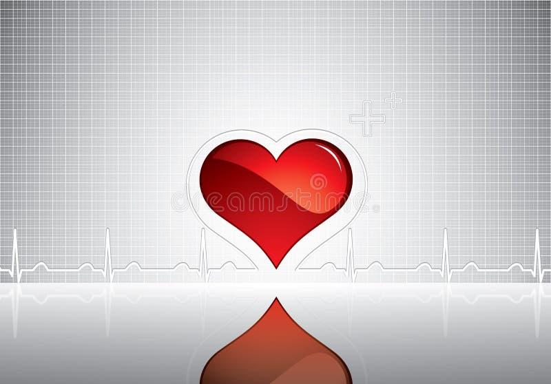 Símbolo do coração e da pulsação do coração na superfície reflexiva ilustração stock