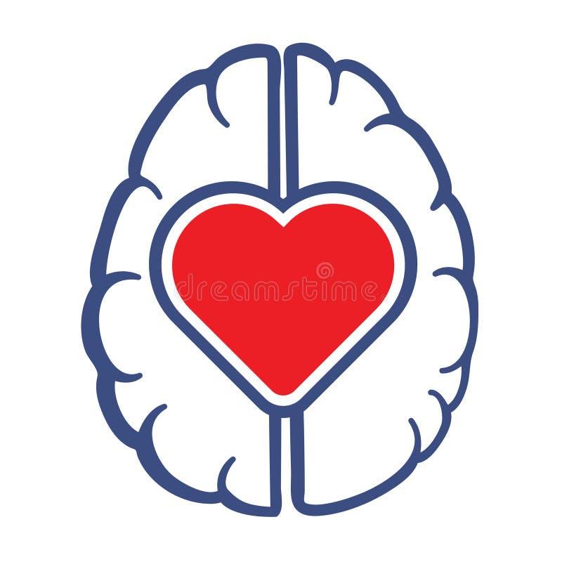 Símbolo do coração e do cérebro humano ilustração royalty free