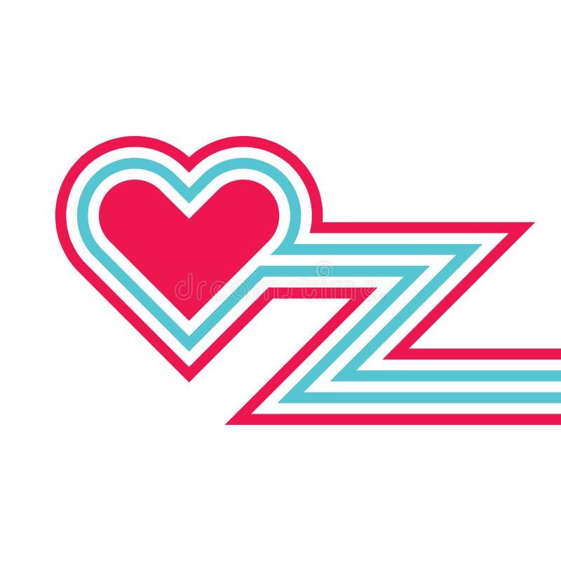 Símbolo do coração e linhas estrutura vermelhos - ilustração criativa do vetor Elemento do projeto gráfico do convite Dia do `s d ilustração royalty free