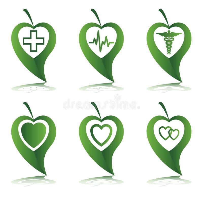Símbolo do coração nas folhas verdes foto de stock