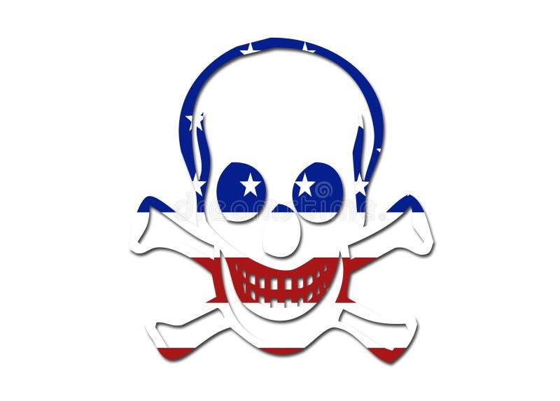Símbolo do crânio da bandeira dos E.U. ilustração stock