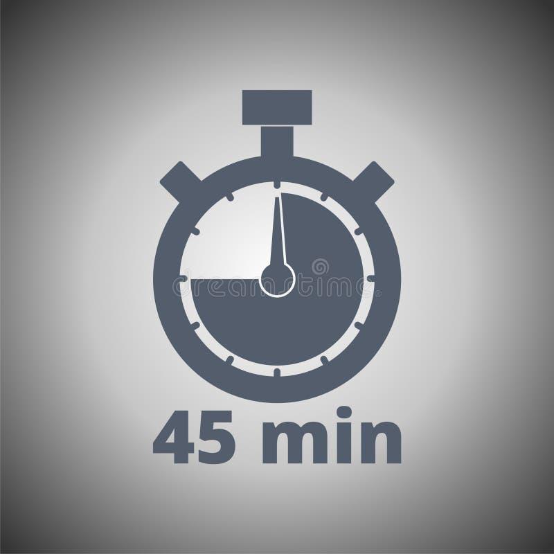 símbolo do cronômetro de 45 minutos, ícone do temporizador ilustração stock