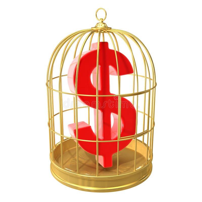símbolo do dólar americano de 3d dentro de um birdcage dourado ilustração royalty free