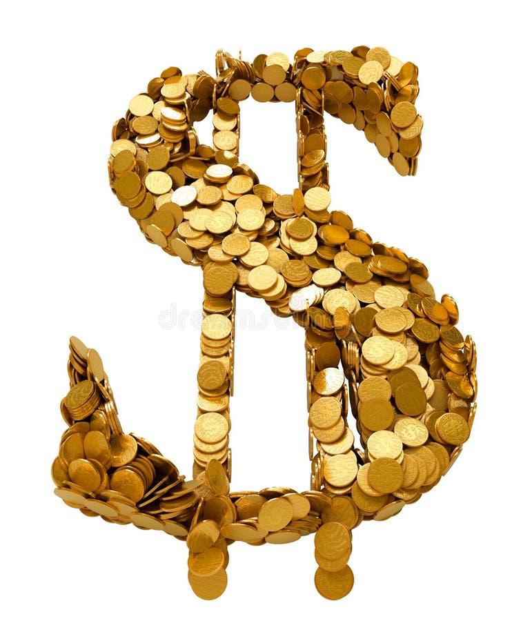 Símbolo do dólar americano Montado com moedas ilustração do vetor