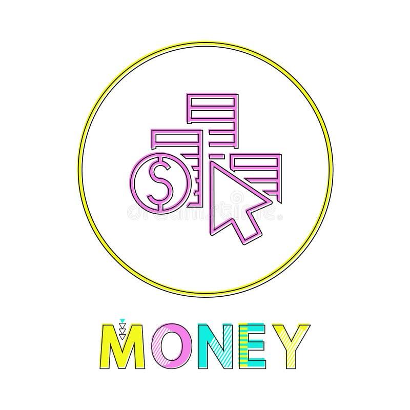 Símbolo do dólar da coluna da moeda e ícone linear do cursor ilustração stock