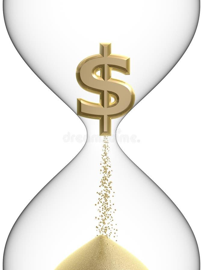 Símbolo do dólar no hourglass ilustração do vetor