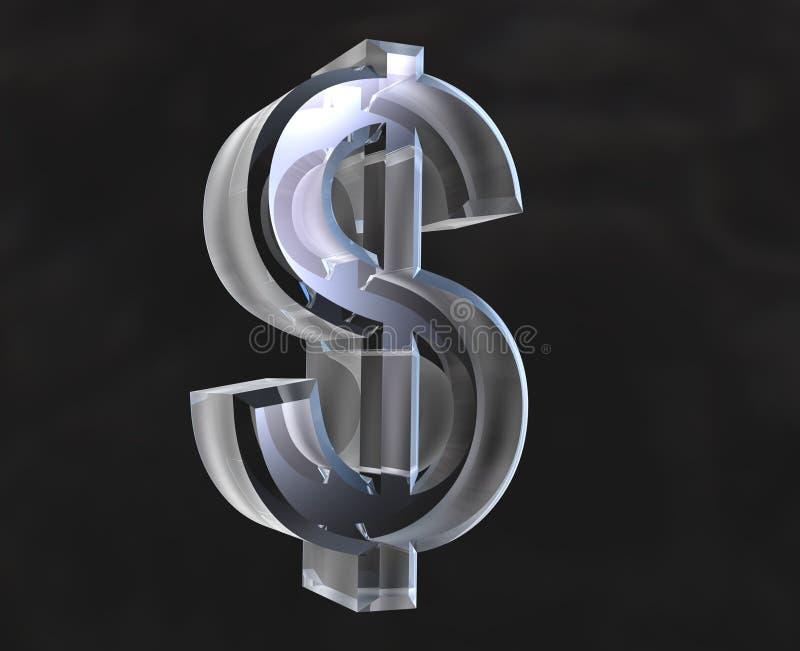 Símbolo do dólar no vidro - 3D ilustração do vetor