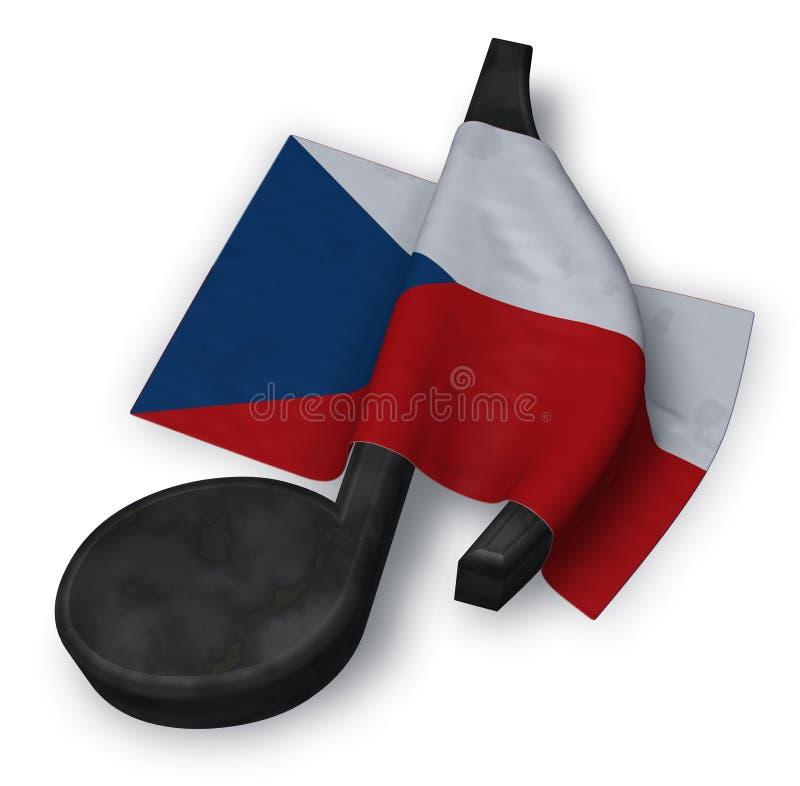 Símbolo do símbolo da nota da música e bandeira checa ilustração stock