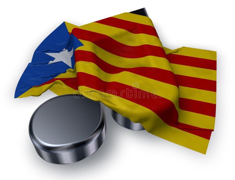 símbolo do símbolo da nota da música e bandeira de catalonia ilustração royalty free