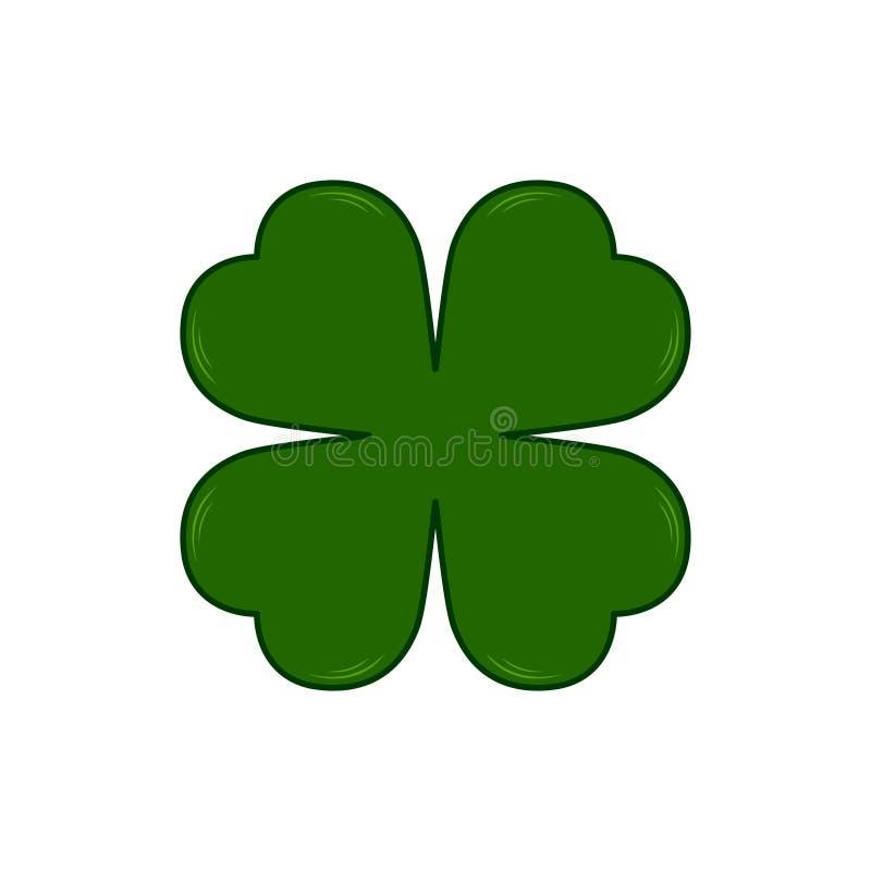 Símbolo do dia de Patricks de Saint do vetor - trevo de quatro folhas Shamrock afortunado Isolado no fundo branco ilustração royalty free