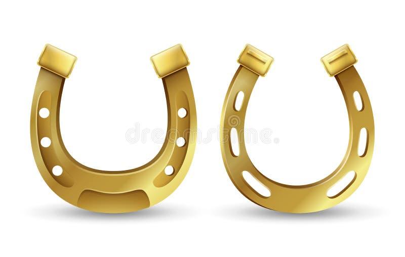 Símbolo do dia de St Patrick afortunado das ferraduras douradas ilustração stock