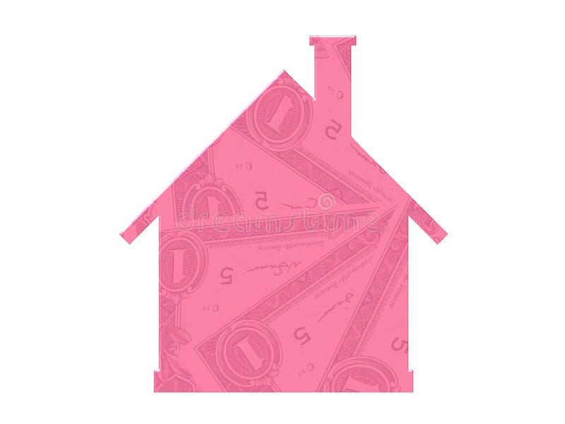 Símbolo do dinheiro do ícone dos bens imobiliários da hipoteca da casa ilustração royalty free