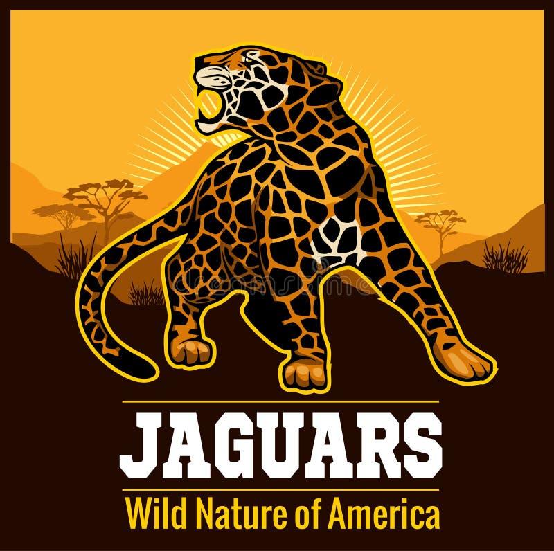 Símbolo do emblema do logotipo do leopardo de Jaguar do vetor ilustração royalty free