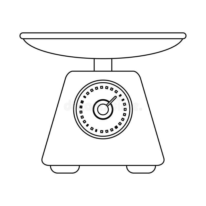 S?mbolo do equil?brio da escala do alimento em preto e branco ilustração do vetor