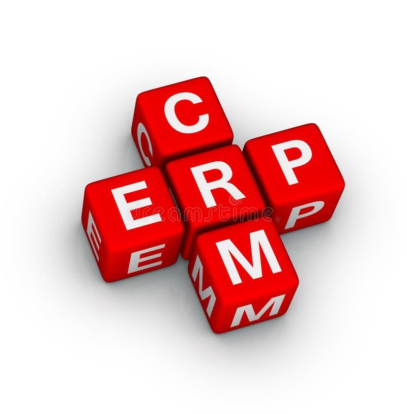 Símbolo do ERP e do CRM ilustração stock
