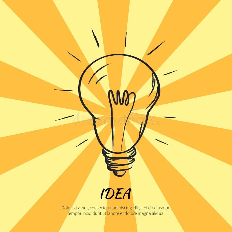 Símbolo do esboço bonde do bulbo da ideia com luz ilustração royalty free